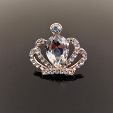 Брошь корона золото, прозрачный камень