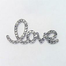 Брошь love, серебро, 20*40мм
