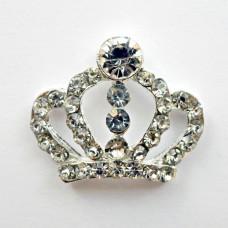 Брошь корона прозрачные стразы