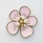 Брошь цветочек нежно-розовый, жемчужины (3,0*3,0)