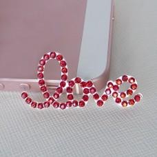 Брошь love, красная, 20*40мм