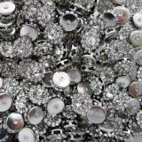 """Брошь прозрачная, основа """"серебро"""", 9мм"""