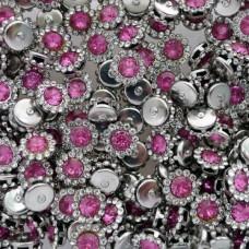 """Брошь розовая, основа """"серебро"""", 9мм"""