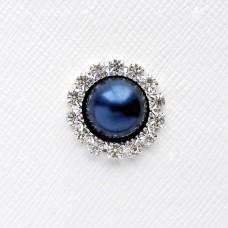 Брошь круглая, синяя (2,0*2,0)