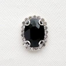 Брошь чёрная, серебро (1,6*2,2)