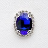Брошь синяя, серебро (1,6*2,2)