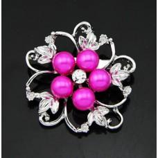 Брошь металл под серебро, крист., ярко-розовый жемчуг (4.0*4.0)