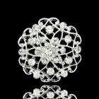 Брошь металл под серебро, кристаллы (3,3*3,3)