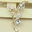 Брошь бабочка металл под золото, кристаллы (5,3*4,2)
