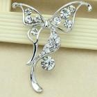Брошь бабочка металл под серебро, кристаллы (5,3*4,2)