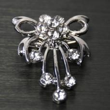Брошь металл под серебро, кристаллы (1,8*2,2)