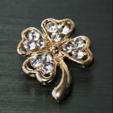 Брошь металл под золото, кристаллы (2,3*2,9)