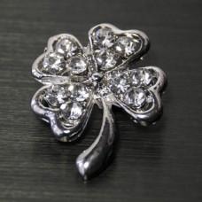 Брошь металл под серебро, кристаллы (2,3*2,9)