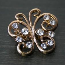 Брошь металл под золото, кристаллы (2,4*2,4)
