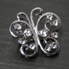 Брошь металл под серебро, кристаллы (2,4*2,4)