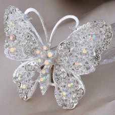 Брошь металл под серебро в форме бабочки, крист. (7,0*5,0)