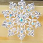 Брошь металл под серебро, перлам.кристаллы (6,5*6,5)
