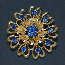 Брошь металл под золото, синие кристаллы (5,0*5,0)