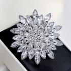 Брошь металл под серебро, прозрачн.кристаллы (6,8*6,8)