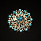 Брошь металл под золото, голубые кристаллы (3,4*3,4)