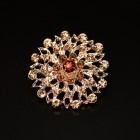 Брошь металл под золото, коричневые кристаллы (3,4*3,4)