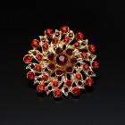 Брошь металл под золото, красные кристаллы (3,4*3,4)