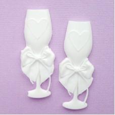 Бокалы свадебные набор из пластика, 50*20мм