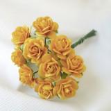 Роза открытая, жёлто-оранж. - 15мм (10шт.)