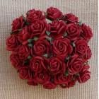 Роза открытая, цвет темно-красный - 10мм (50шт.)