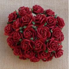 Роза открытая, цвет темно-красный - 25мм (100шт.)