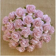 Роза открытая, тон бледно розовый - 20мм (50шт.)