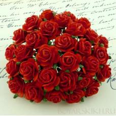 Роза открытая, тон красный - 10мм (100шт.)