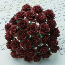Роза открытая, сливовый тон - 25мм (100шт.)