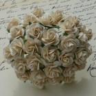 Роза открытая, тон темная слоновая кость - 10мм (100шт.)
