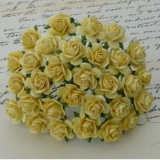 Роза открытая, тон желтый - 10мм (100шт.)