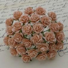 Роза открытая, тон персиковый - 10мм (100шт.)