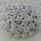 Роза открытая,  тон слоновая кость/ розовый – 25мм (100шт.)
