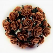 Роза открытая, тон подрумяненный кофе - 10мм (100шт.)