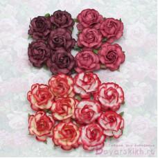 Роза чайная, тон красный - 40мм (20шт.)