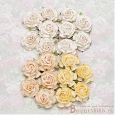 Роза чайная, тон белый/кремовый - 40мм (20шт.)