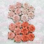 Роза чайная, тон персиковый/оранжевый - 40мм (20шт.)