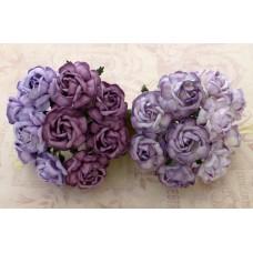 Роза чайная, тон лиловый/пурпурный - 40мм (20шт.)