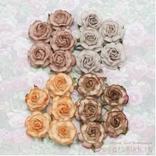 Роза чайная, тон земляной - 40мм (20шт.)