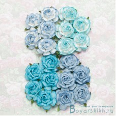 Роза чайная, тон голубой - 40мм (20шт.)
