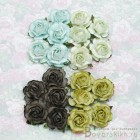 Роза чайная, тон голубой/зеленый - 40мм (20шт.)