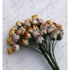 Роза бутоном двухцветная, земляные тона - 10мм (40шт.)