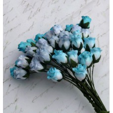 Роза бутоном двухцветная, голубые тона - 10мм (40шт.)