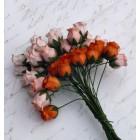 Роза бутоном двухцветная, персико-оранж.тона - 10мм (40шт.)