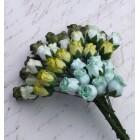Роза бутоном двухцветная, зеленые тона - 10мм (40шт.)