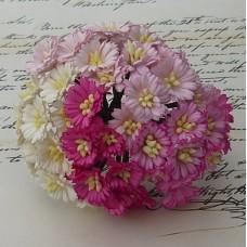 Маргаритка, цвет белый/розовый - 25мм (50шт.)